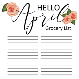 Printable grocery list for April