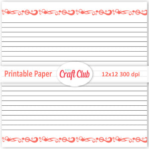 filigree lined paper coral