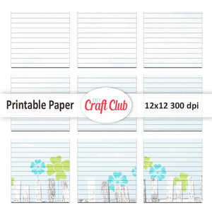 Lined floral printable tags for junk journals