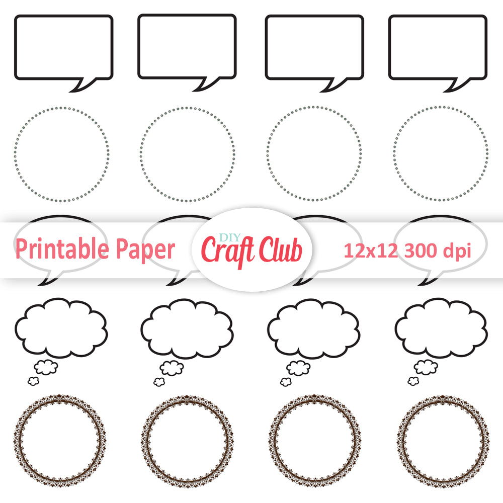image relating to Speech Bubble Printable called Speech Bubbles Printable Stickers - Do-it-yourself Craft Club