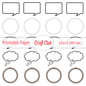 photo relating to Printable Speech Bubbles identified as Speech Bubbles Printable Stickers - Do it yourself Craft Club