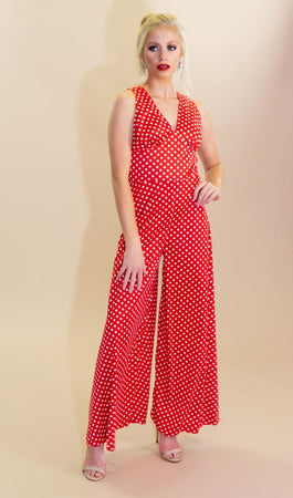 a28bb7b85b1 GOAT Vintage · Vintage 70s Red and White Polka Dots Jumpsuit