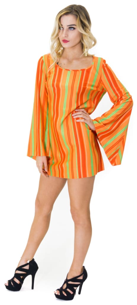 Vintage 70\u0027s Retro Bell Sleeves Orange Mini Dress