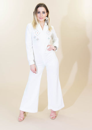 1c65334b5e9 JCPenney Fashions · Vintage 70s White Bell Bottom Jumpsuit