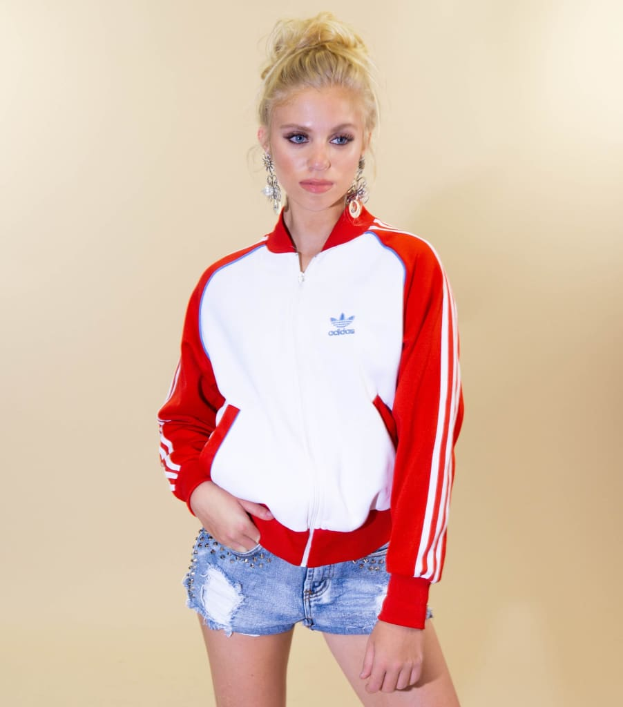 Vintage 80s Adidas Trefoil Red and White Track Jacket