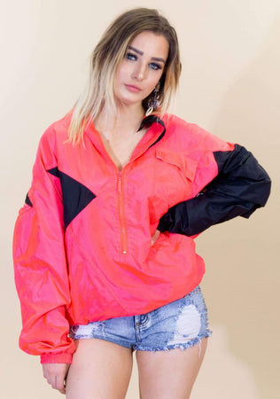 3454c34fcd1b PUMA · Vintage 80s Puma Pink and Black Color Block Windbreaker Jacket