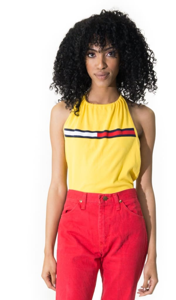 a9cf25cba54fd4 Vintage 90s Tommy Hilfiger Bright Yellow Halter Top   35.00   Tommy ...