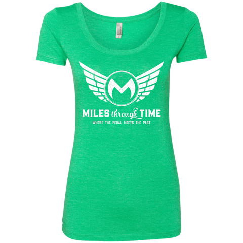 Miles Through Time Logo Womens Triblend Scoop