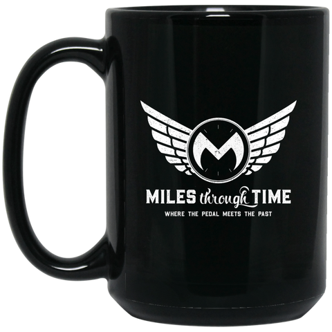 Miles Through Time Logo 15OZ 15 oz. Black Mug