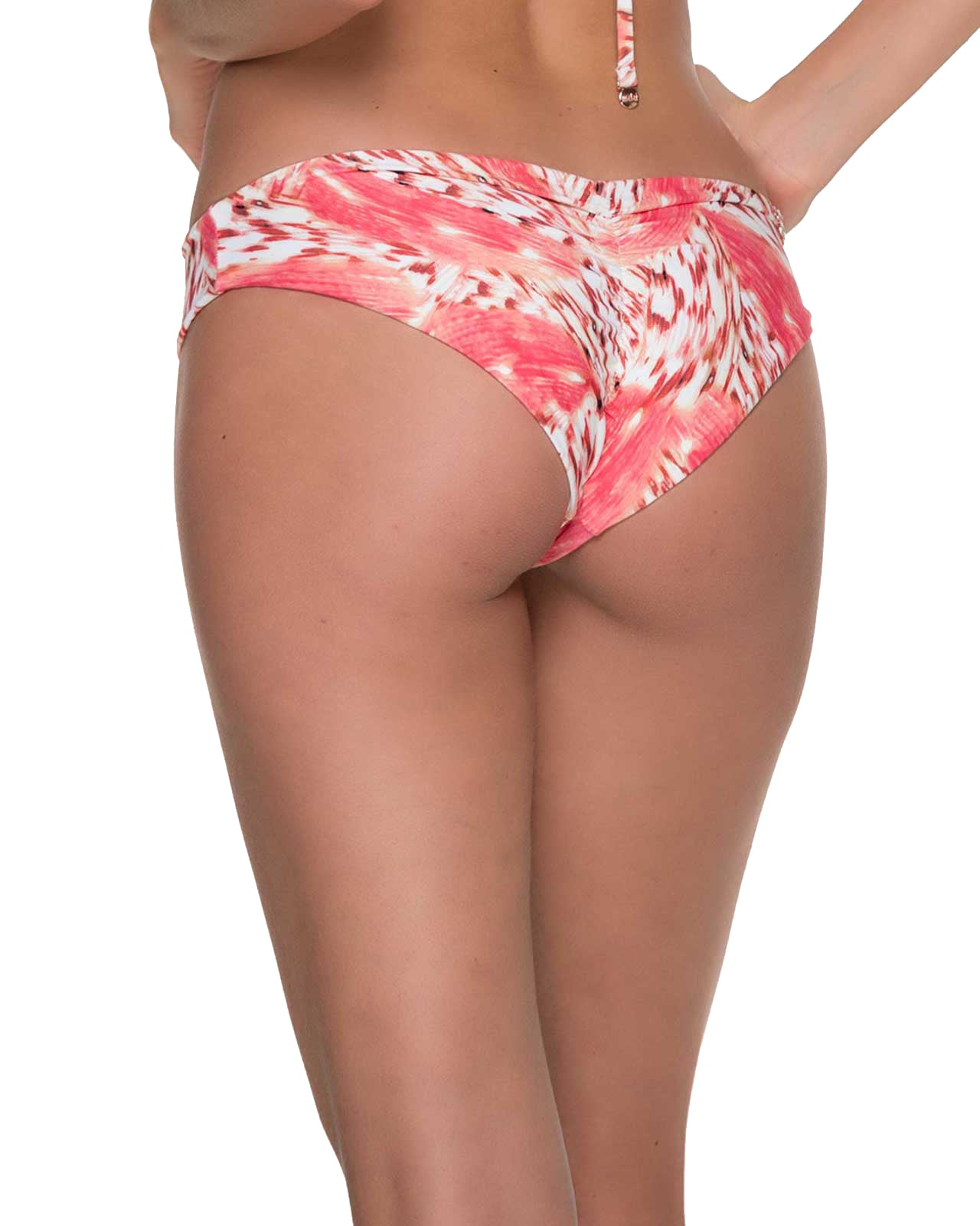 CORAL BRUSHSTROKE RUCHED BOTTOM