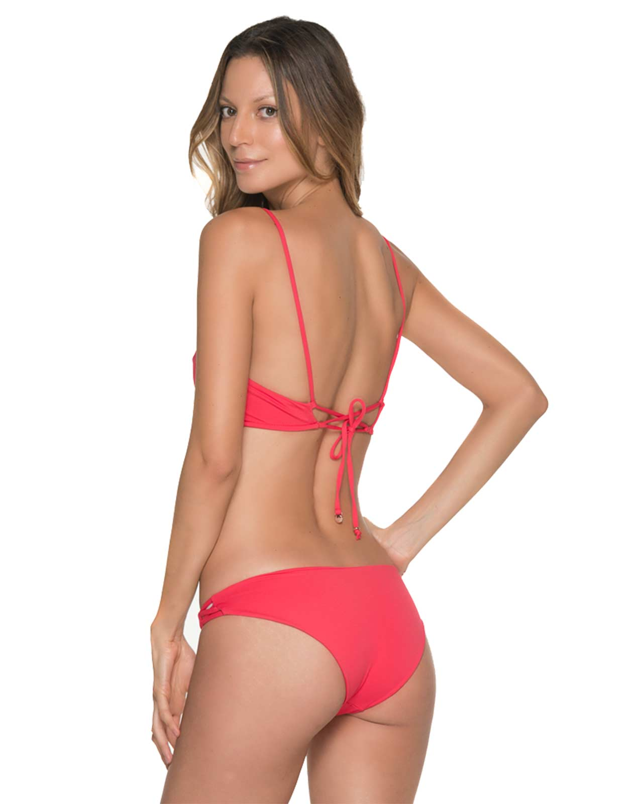 CHIEF FISHBONE CHERRY BRALETTE STRING SIDE BIKINI