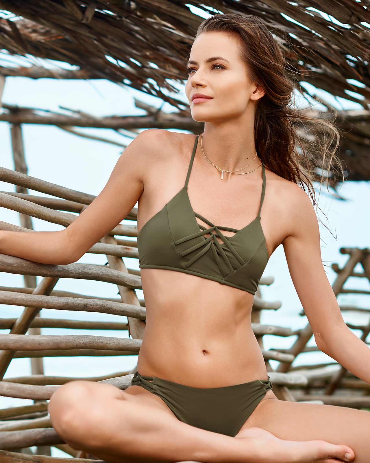 CHIEF FISHBONE ARMY BRALETTE STRING SIDE BIKINI