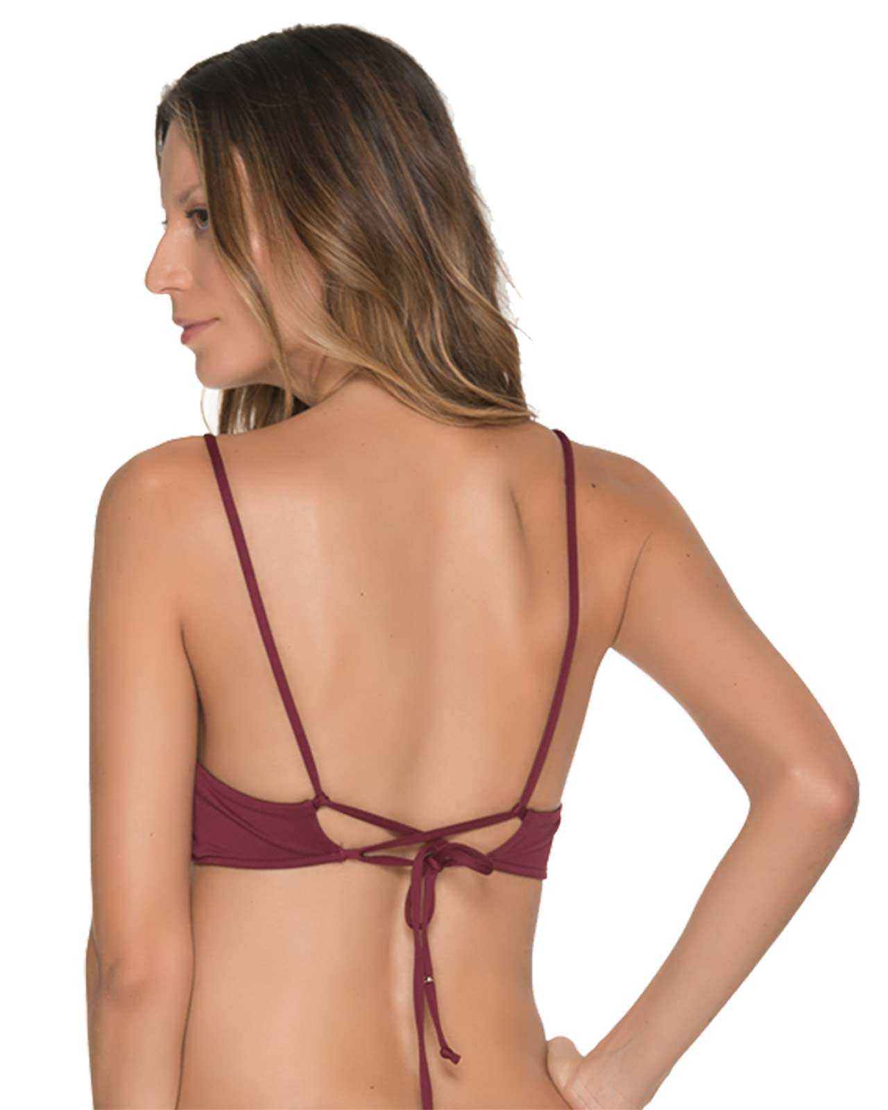 CHIEF FISHBONE MERLOT BRALETTE TOP