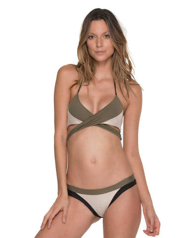 CORAL BRUSHSTROKE TRIANGLE STRING SIDE BIKINI