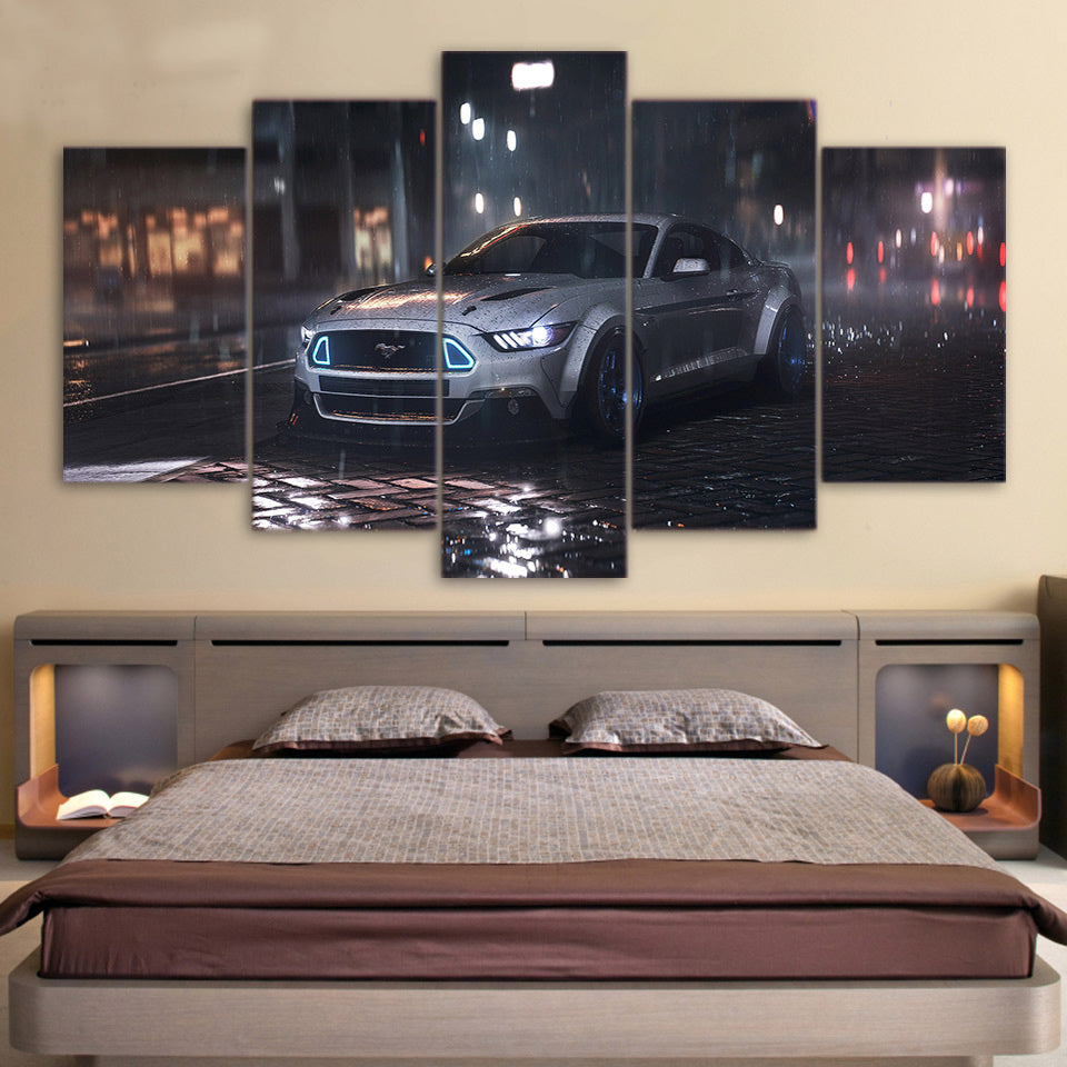 MUSTANG IN THE NIGHT CANVAS ART