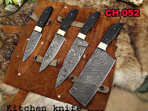 Kitchen Chef Knife Set 10 - Natural Bull Horn Handle, Brass Bolster and Pins