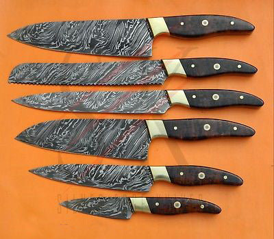 Kitchen Chef Knife Set 13 - Rose Wood Handle and Brass Pin