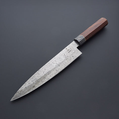 10 INCH HANDMADE DAMASCUS STEEL CHEF KNIFE, ROSE WOOD & PAKKA HANDLE