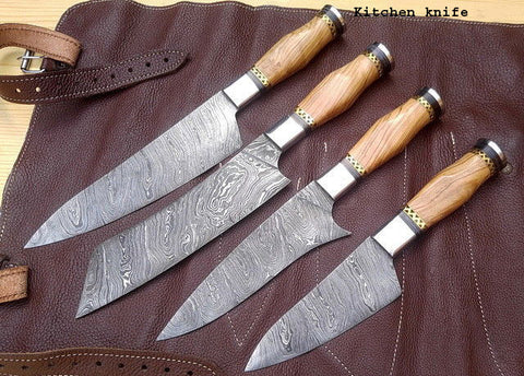 Image of Kitchen Chef Knife Set 2 - Olive wood Handle and Brass spacer