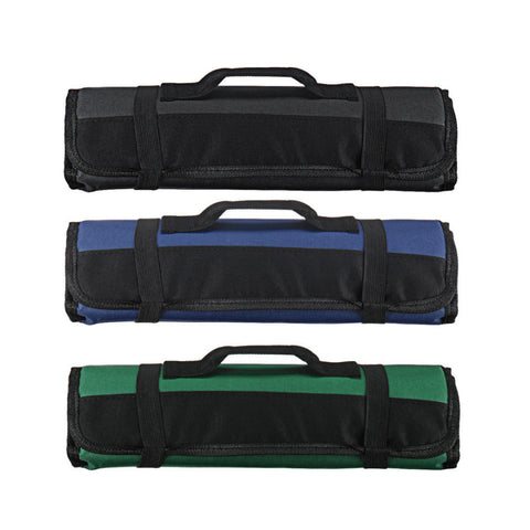 Image of Chef Knife Roll Bag - 22 Pockets - Oxford Cloth - Black/Blue/Green