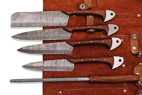 Kitchen Chef Knife Set 5 - Rose Wood Handle, Knife Sharpener and Leather roll