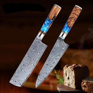 67 layers VG10 Damascus Steel Chef Knives - Solidified Wood Handle