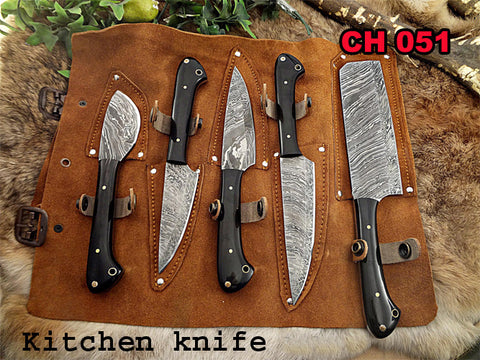Image of Kitchen Chef Knife Set 8 - Natural Bull Horn Handle