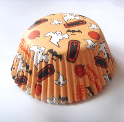 Image of 50pcs Ghost/Witch/Skull/Pumpkin Halloween Cupcake Liner