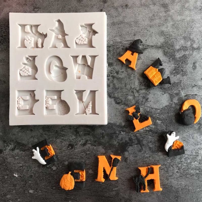 Halloween Letter Silicone Mold DIY Chocolate Cake Candy Cookies Fondant Mould Kitchen Baking Tool