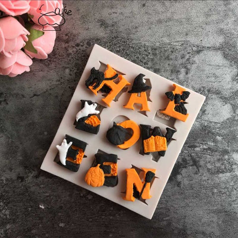 Image of Halloween Letter Silicone Mold DIY Chocolate Cake Candy Cookies Fondant Mould Kitchen Baking Tool
