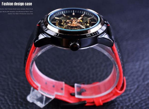 Image of Forsining Red Leather Wristwatch