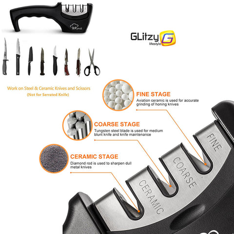 3 Stage Professional Knife Sharpener -  Tungsten Diamond Ceramic
