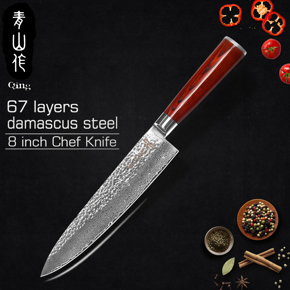 "QING Brand Kitchen Knives Eco-Friendly VG10 Damascus Knife Single Knife 3.5"" Fruit 5"" Utility 8"" Bread 8"" Slicing 8"" Chef Knife"