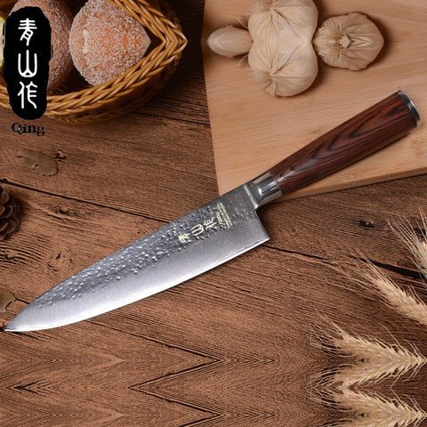 "Image of QING Brand Kitchen Knives Eco-Friendly VG10 Damascus Knife Single Knife 3.5"" Fruit 5"" Utility 8"" Bread 8"" Slicing 8"" Chef Knife"