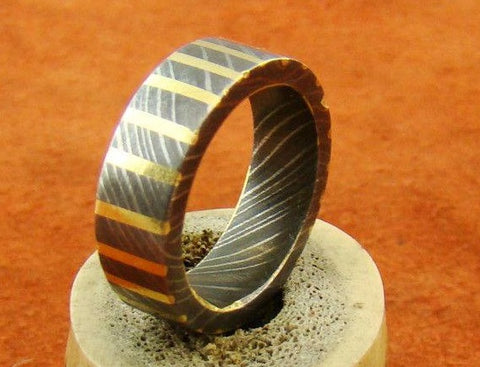 Handmade Damascus Ring 15 Made to Size
