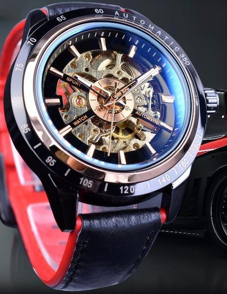 Forsining Red Leather Wristwatch