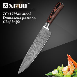 5 Chef Knives with Japanese Damascus Steel Pattern  - Only £49.97