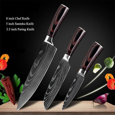 Black Edition Japanese Chef Knives - 8 pcs Knife Set Only £129.97