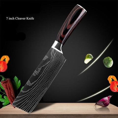 Black Edition Japanese Chef Knives - 8 pcs Knife Set Only £99.97