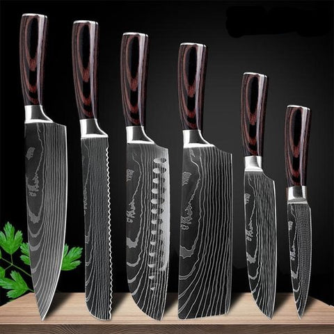 Image of Black Edition Japanese Chef Knives - 8 pcs Knife Set Only £129.97