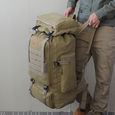 Image of 60L Large Military Bag Canvas Backpack