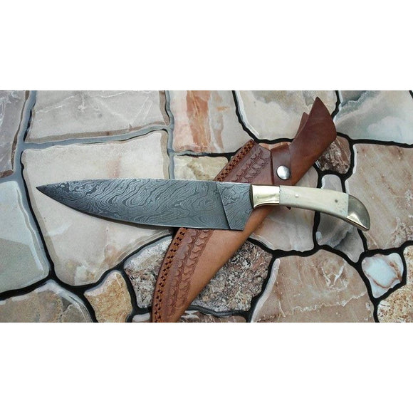 7'' Damascus Steel with Camel Bone handle and Brass Bolster