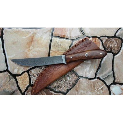 6'' Damascus Steel with Rosewood Handle