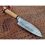 6'' Damascus Steel with Olive wood handle