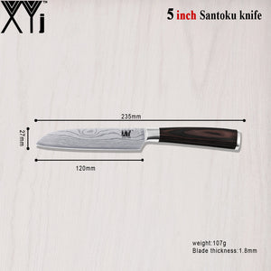 5 Inch Santoku Japanese Cook'S Knife 7CR17 Stainless Steel Pattern