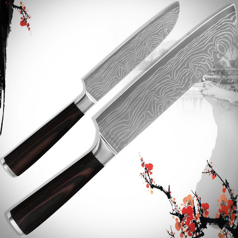 Image of 2 Piece Santoku Kinfe Set - 5 inch 7 inch stainless steel with laser Damascus veins - £39.97 + Free Shipping