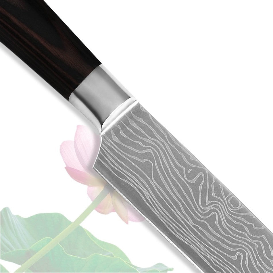 2 Piece Santoku Kinfe Set - 5 inch 7 inch stainless steel with laser Damascus veins - £39.97 + Free Shipping