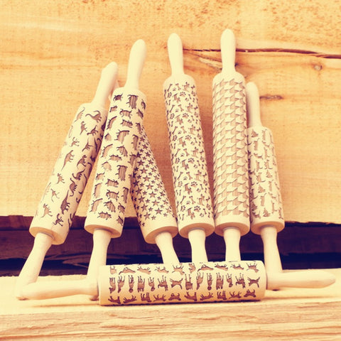 Image of Wooden Rolling Pin for Mastic Embossing with Pattern Fondant Cake Dough