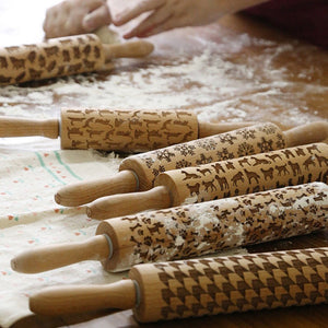 Wooden Rolling Pin for Mastic Embossing with Pattern Fondant Cake Dough