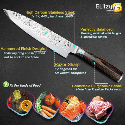 "8"" Japanese 7CR17 440C Chef Knife -  Pakka Wood Handle - £22.97 + FREE Delivery"